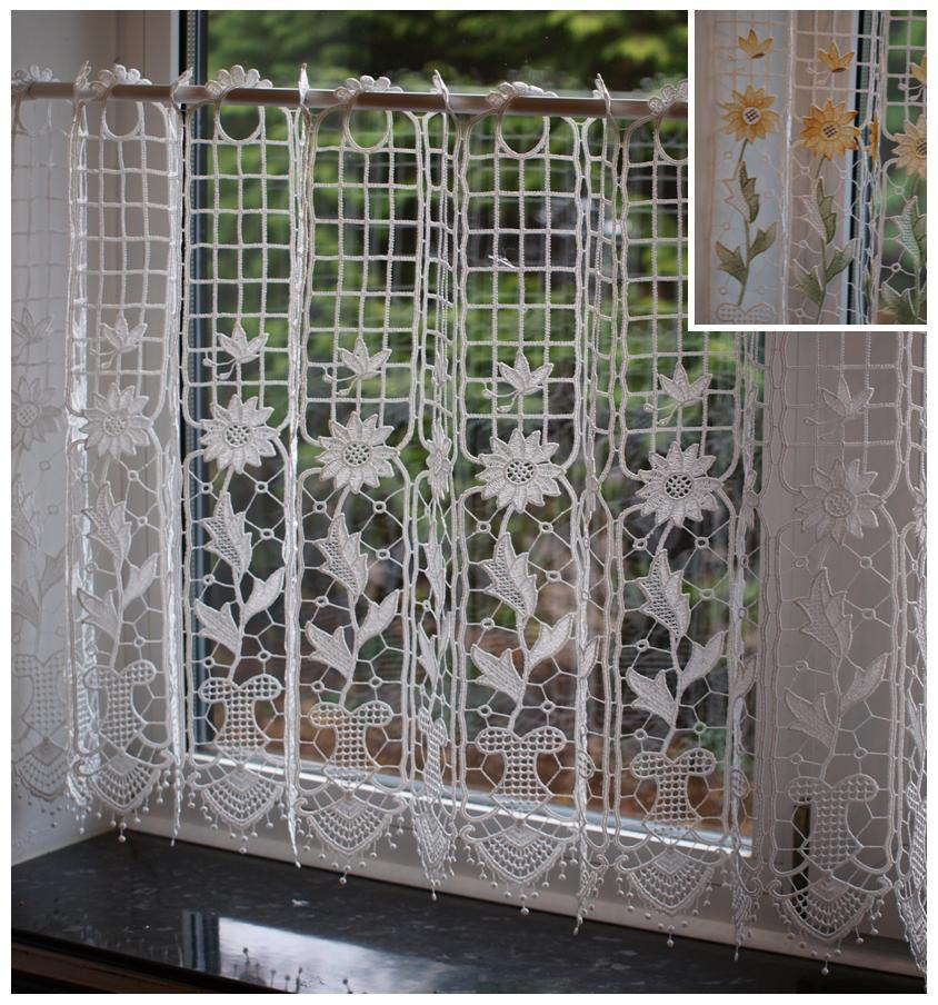 Macrame lace ready made cafe net kitchen curtain panel - Macrame rideau cuisine ...
