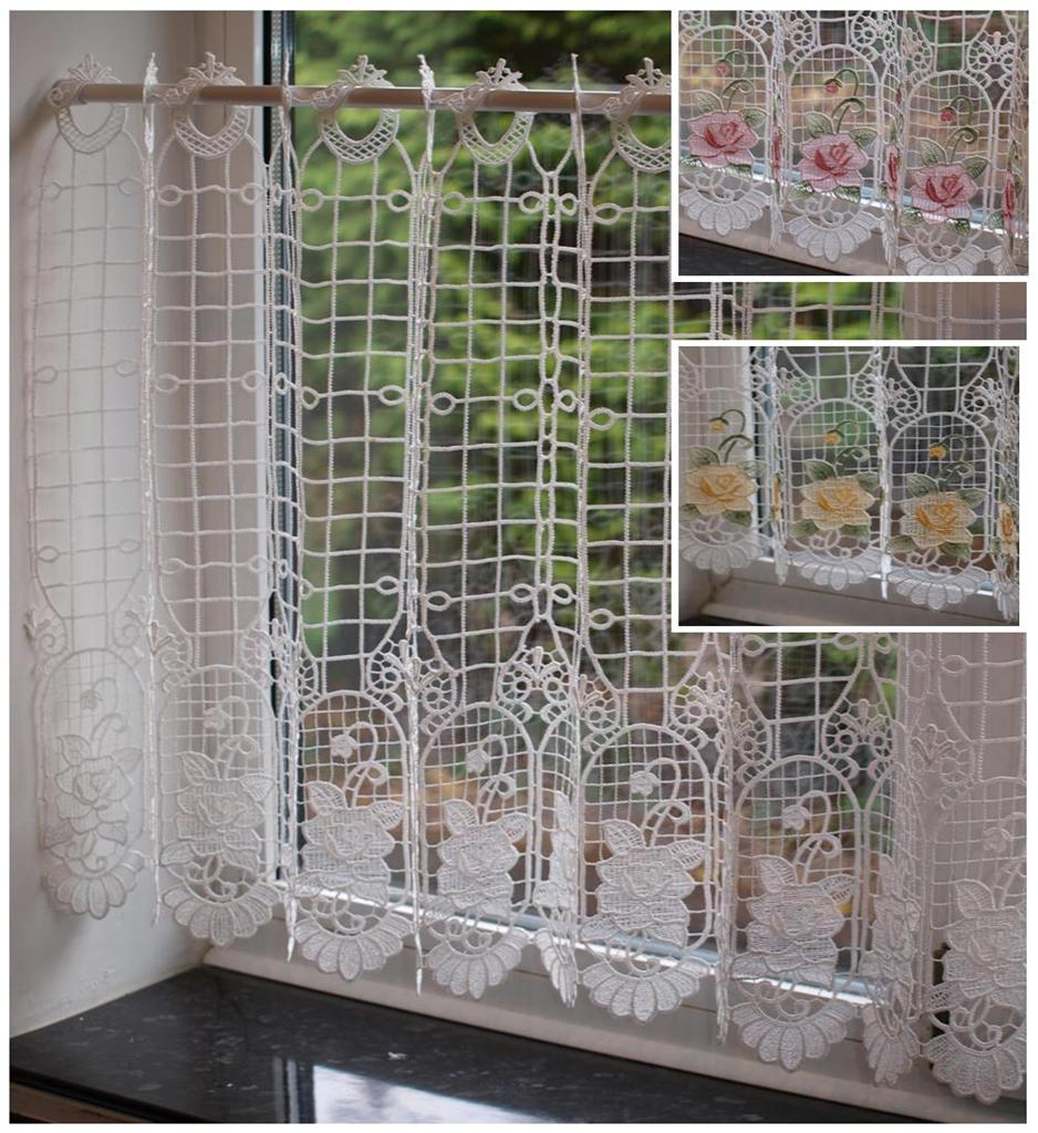 macrame lace ready made cafe net kitchen curtain panel 24 inch drop ebay. Black Bedroom Furniture Sets. Home Design Ideas