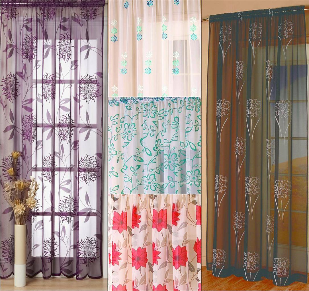 Modern floral voile panel net curtains 4 great designs for Flowery curtains design