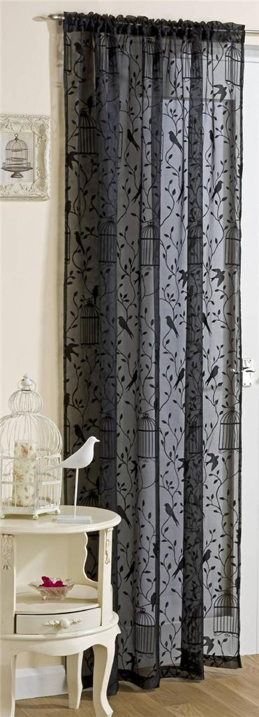 NIGHTINGALE BIRD CAGE LEAVES NET VOILE CURTAIN SLOT TOP PANEL BLACK WHITE IVORY