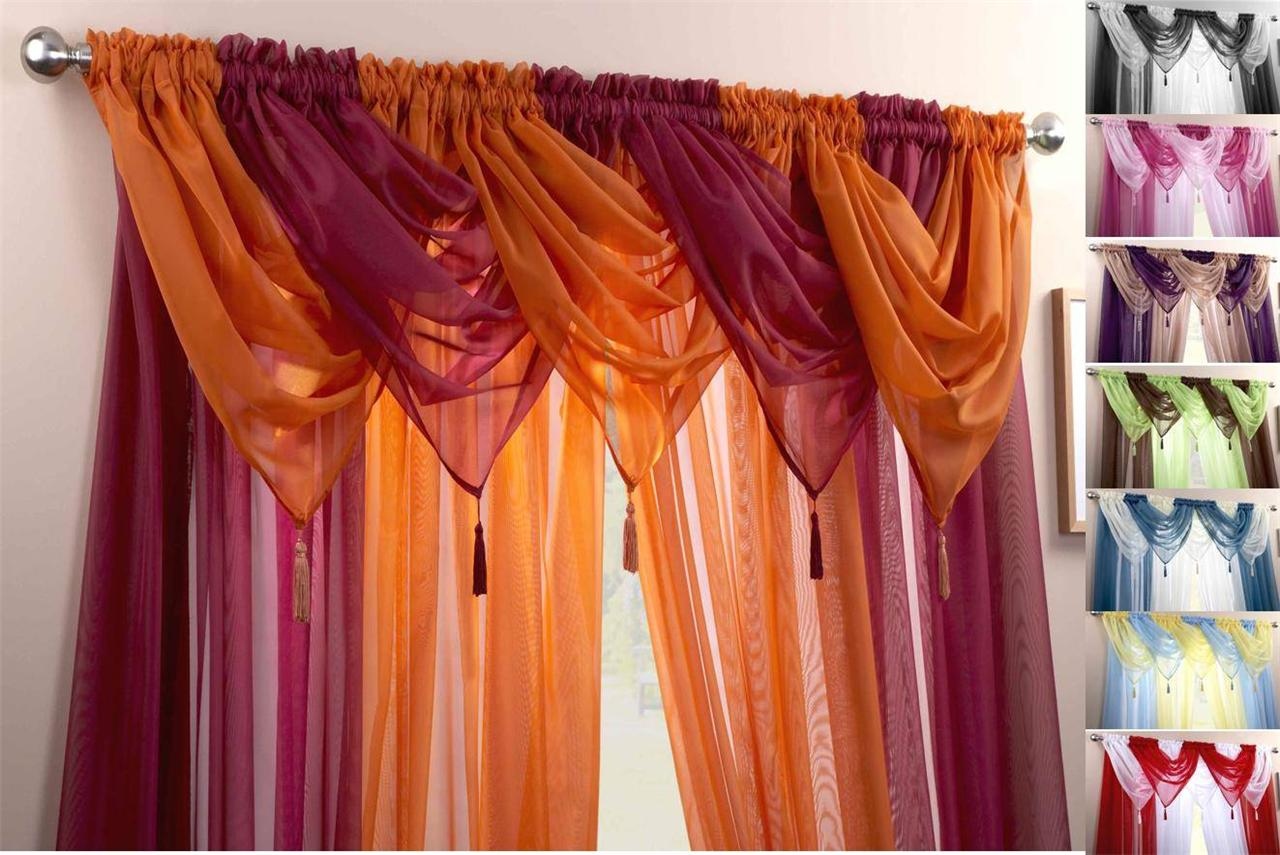 Voile swag swags tassle decorative net curtain drapes for Curtains and drapes
