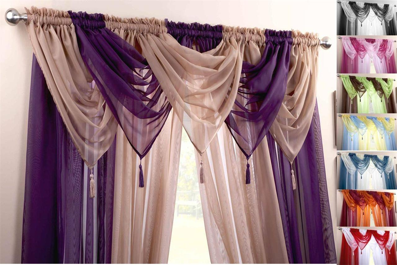 Drapery holdbacks window treatment hardware ebay - Voile Swag Swags Tassle Decorative Net Curtain Drapes