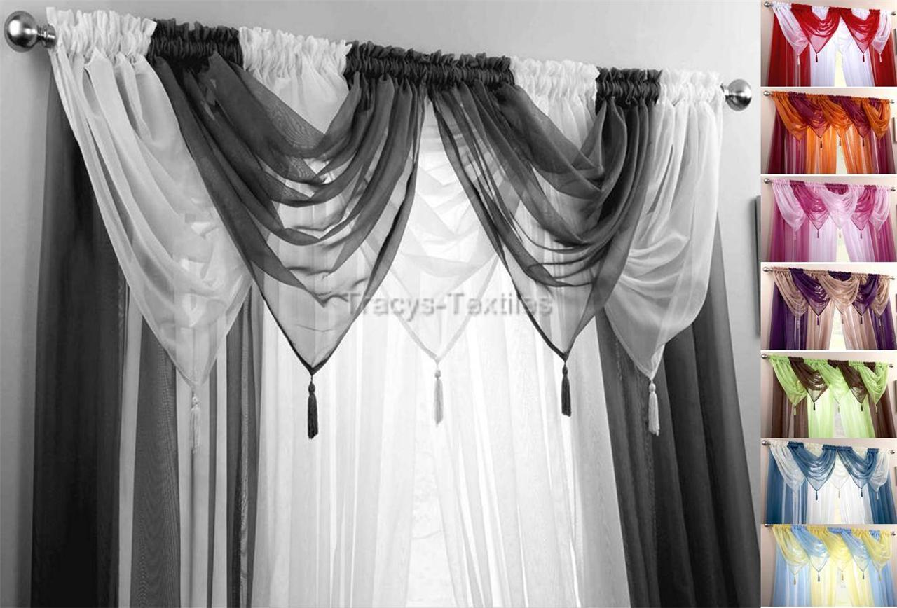 Voile swag swags tassle decorative net curtain drapes for Window voiles