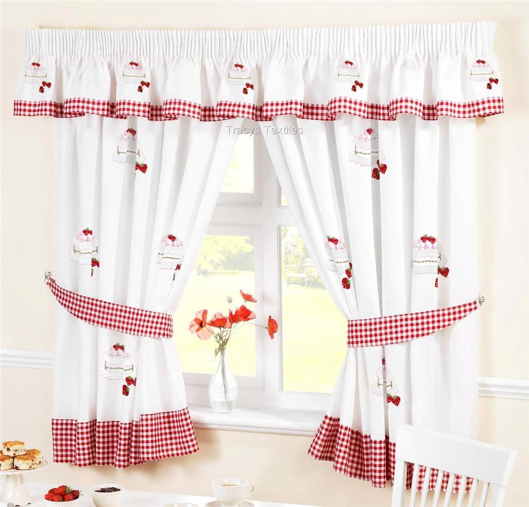 Strawberry Sponge Cake White Red Kitchen Curtains Ebay