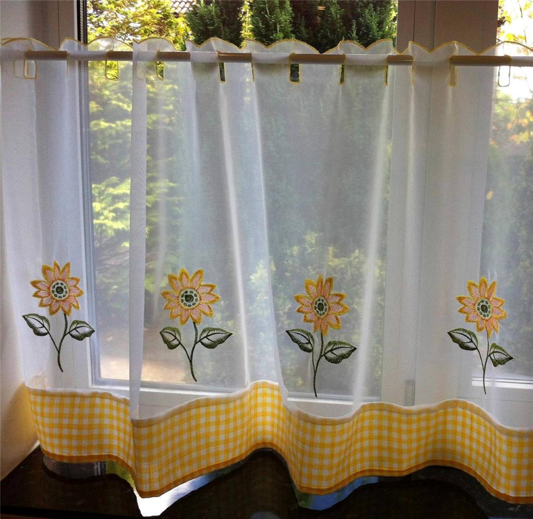 SUNFLOWER YELLOW & WHITE VOILE CAFE NET CURTAIN PANEL KITCHEN ...