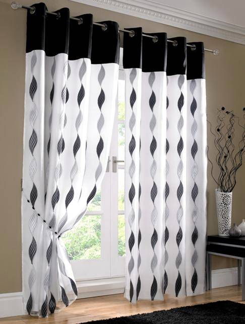 wave black silver white lined voile ring top eyelet curtains many sizes ebay. Black Bedroom Furniture Sets. Home Design Ideas