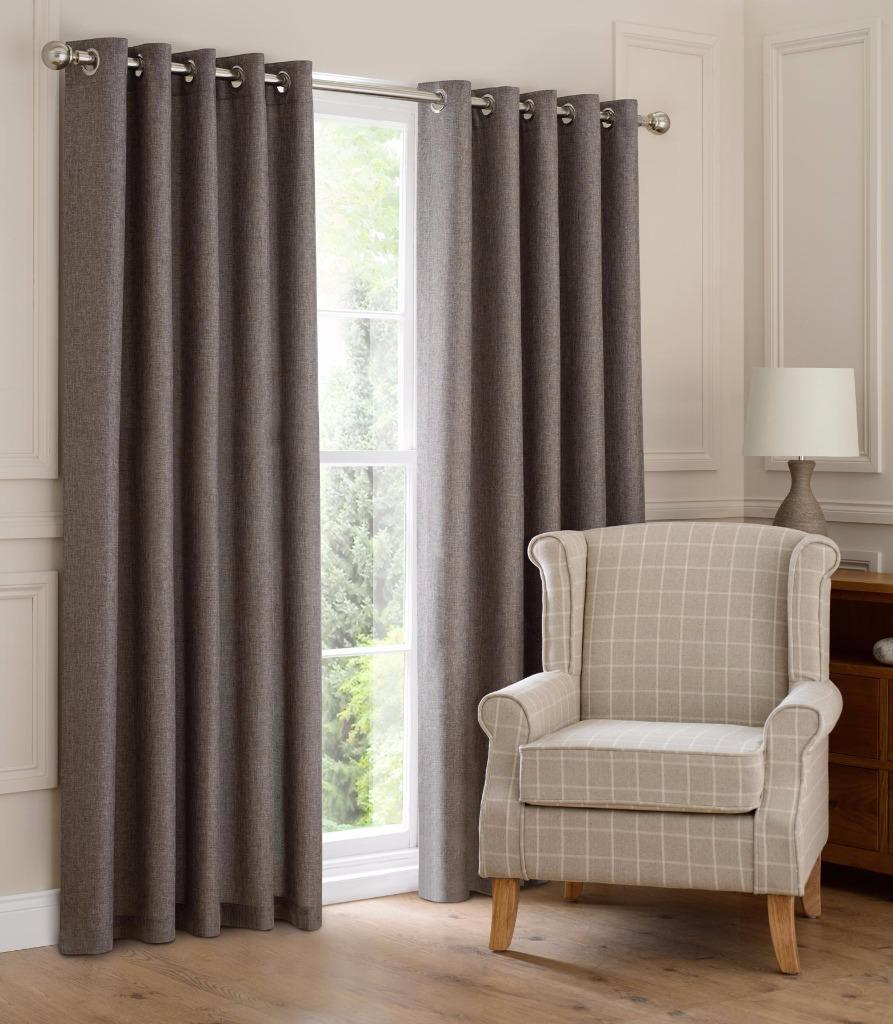 Montana Lined Eyelet Ring Top Linen Look Curtains Clearance Last Few Ebay