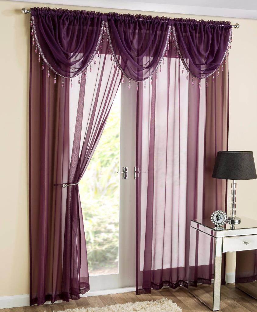 sapphire 5 piece beaded swag voile curtain panel set. Black Bedroom Furniture Sets. Home Design Ideas