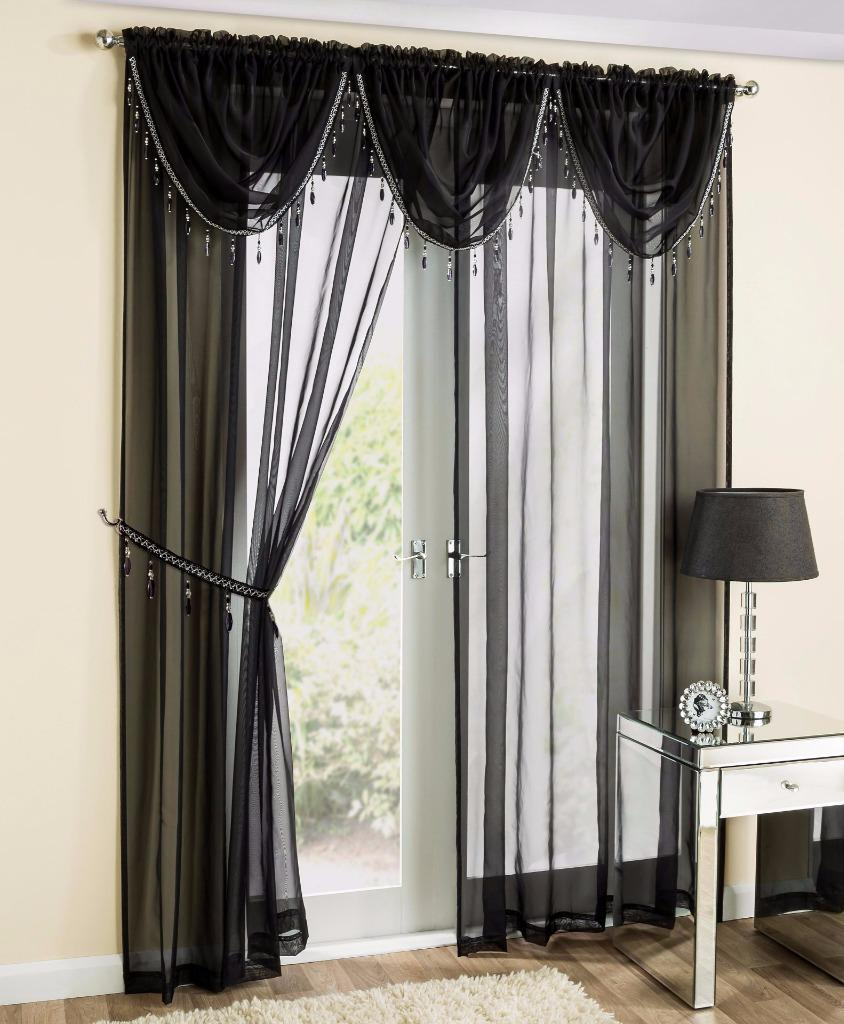 Drapery holdbacks window treatment hardware ebay - Sapphire Sheer Voile Crystal Beaded Swag X1 Drape