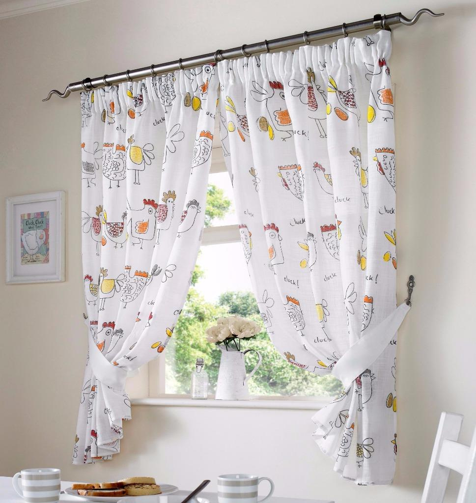 COLOURED CHICKENS WHITE KITCHEN CURTAINS~ Many Colours