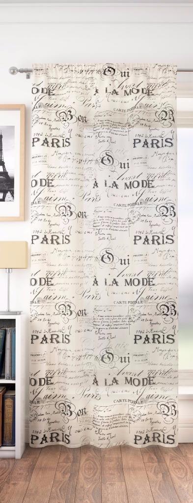 Paris calligraphy vintage voile slot top curtain panel