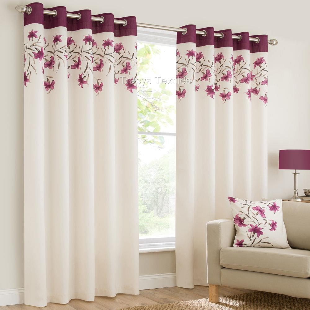 Lily Ring Top Fully Lined Floral Eyelet Curtains Red Blk Teal Orange Purple Ebay