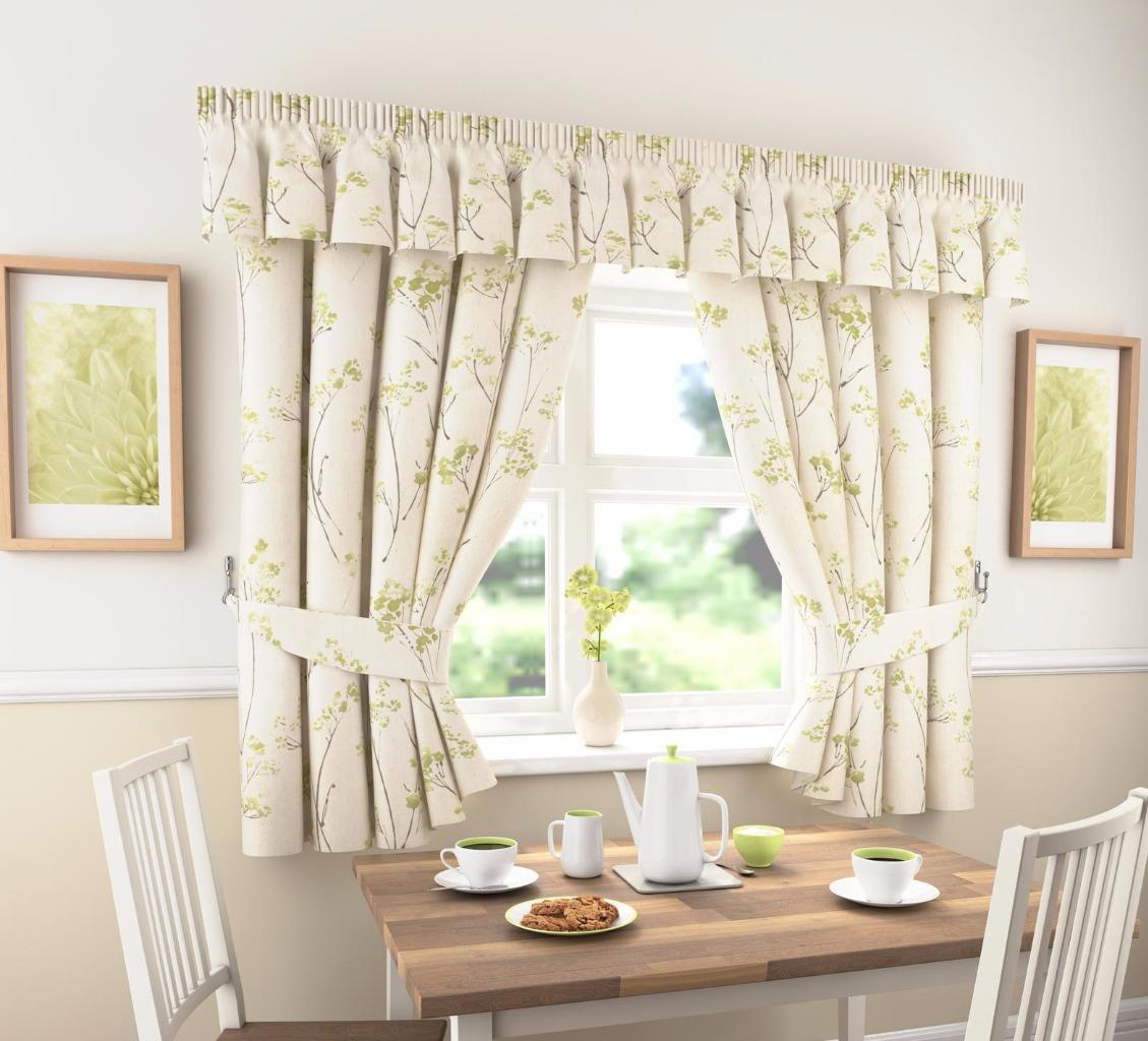 LYDIA THICK PLAIN FLORAL KITCHEN CURTAINS OR PELMET