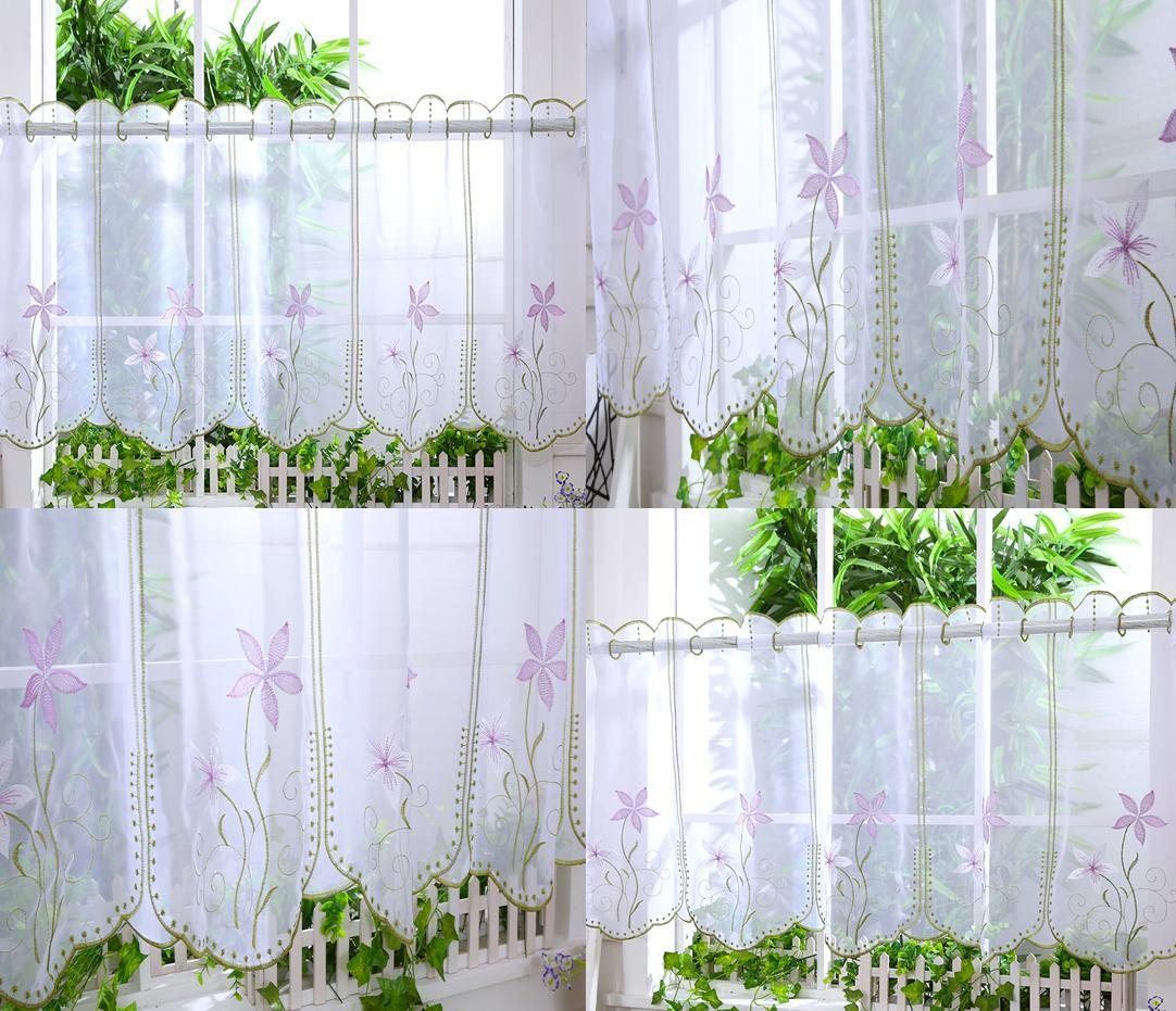 """Kitchen Voile Cafe Net Curtain Panel ~ 25 NEW Designs ~12"""" 18"""" 24"""" Drops"""