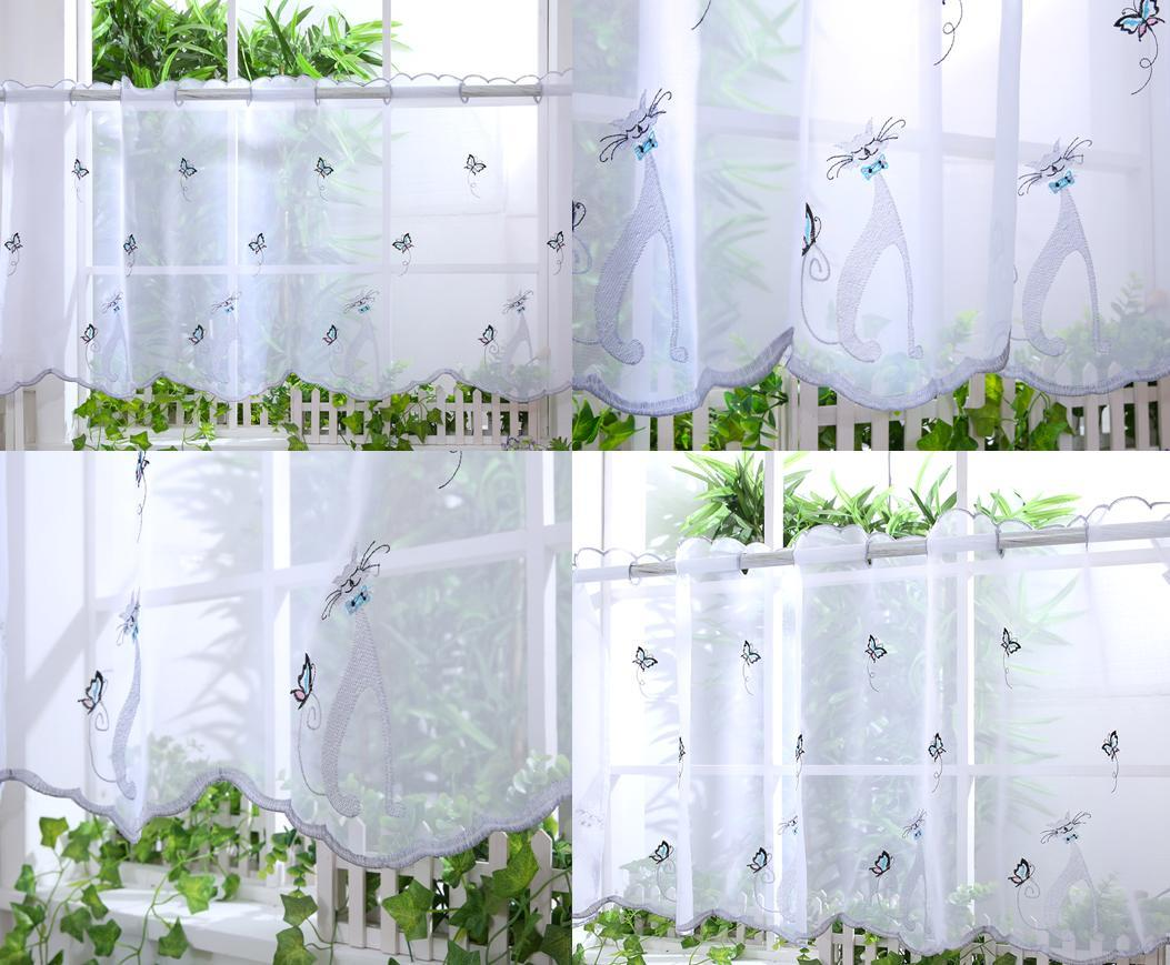 Voile Cafe Net Curtain Panel D21 Cute Cats