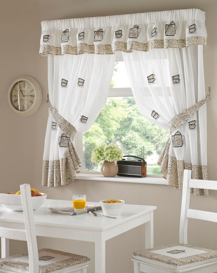 one pair of embroidered coffee pots design kitchen curtains inc tiebacks ebay. Black Bedroom Furniture Sets. Home Design Ideas