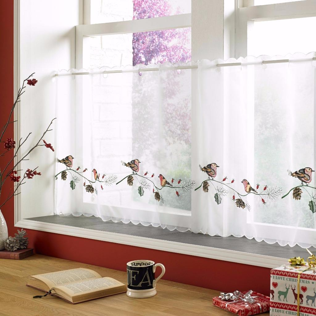Christmas Voile Cafe Net Curtain Panel Various Designs