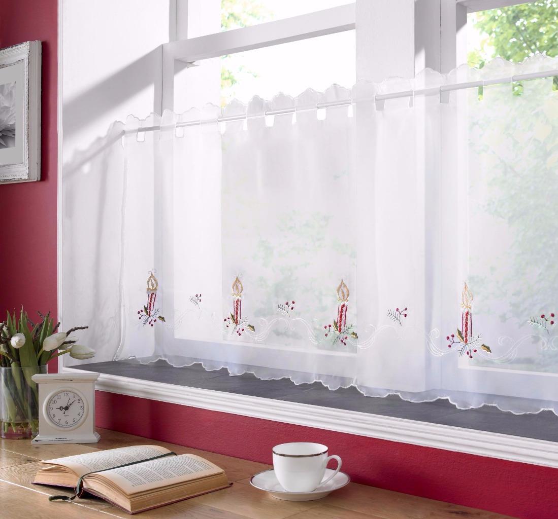 christmas voile cafe net curtain panel various designs. Black Bedroom Furniture Sets. Home Design Ideas