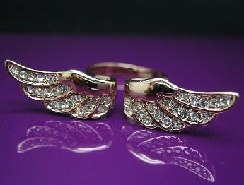 Angel Wing Rose GOLD GF Ring Swarovski Crystal SZ6 R217