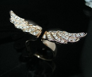 Angel Wing Rose GOLD GF Ring Swarovski Crystal SZ5 R217