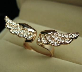 Angel Wing Rose GOLD GF Ring Swarovski Crystal SZ5 R217