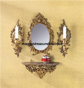 Baroque wall mirror ensemble shelf candle sconce set ebay for Baroque mirror canada