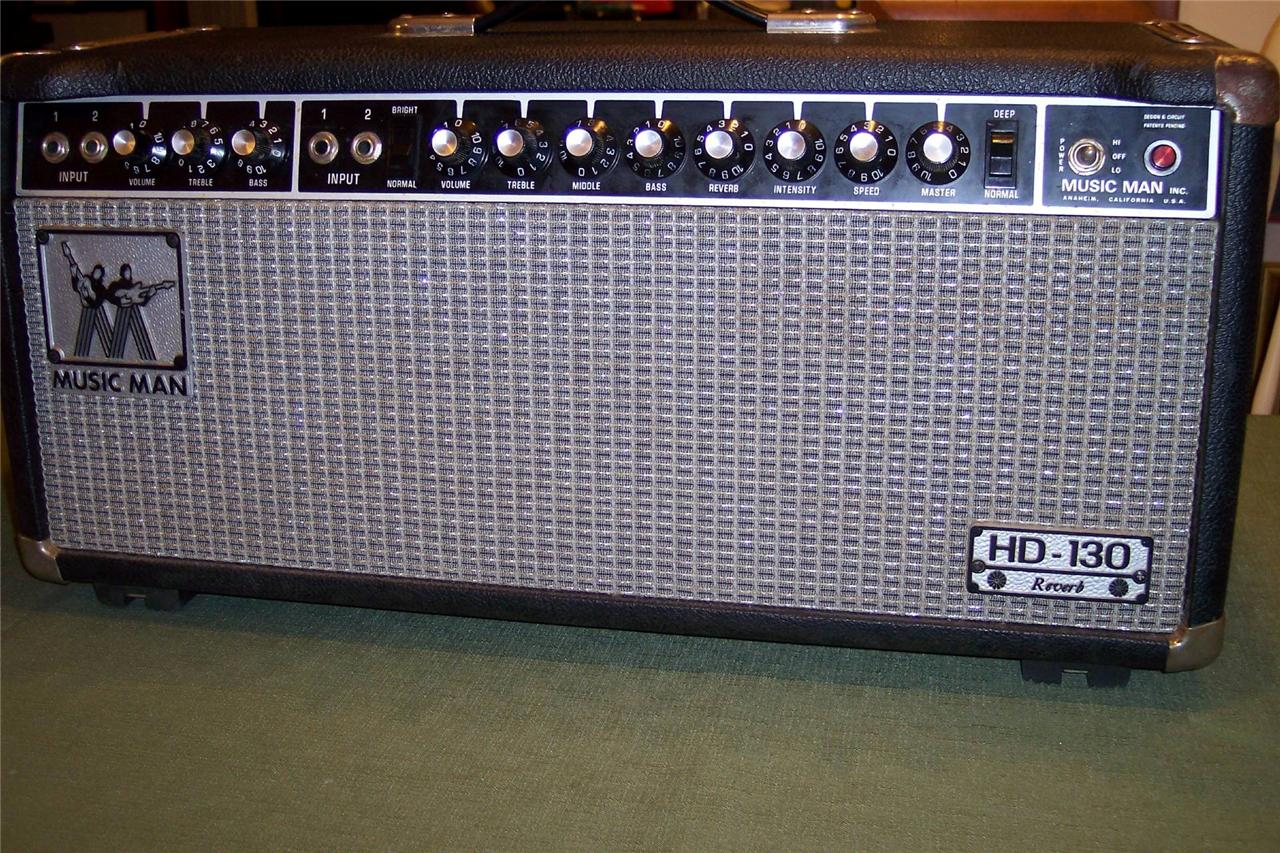 dating music man amplifiers Amp: serial no a004231, chassis no 2100-130, front control style cabinet with black tolex covering, metal plate stamped music man and logo in black, silver grille cloth, black control panel with nine 'numbered' style rotary controls, four jack inputs, two rocker switches and red pilot lamp, (fuse cap missing), 117v, us plug and speaker.