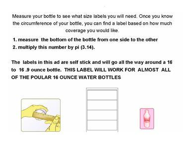 "Water Bottle Labels Blank Gloss 8"" X 2.5"" 1000 Qty."