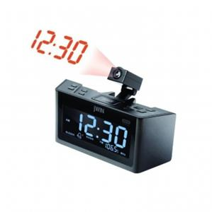 jwin dual alarm clock radio with projection projector. Black Bedroom Furniture Sets. Home Design Ideas