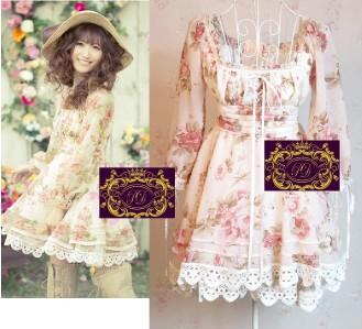 Lace Chiffon Ribbon Lace up Baby doll Dress C44 xs s