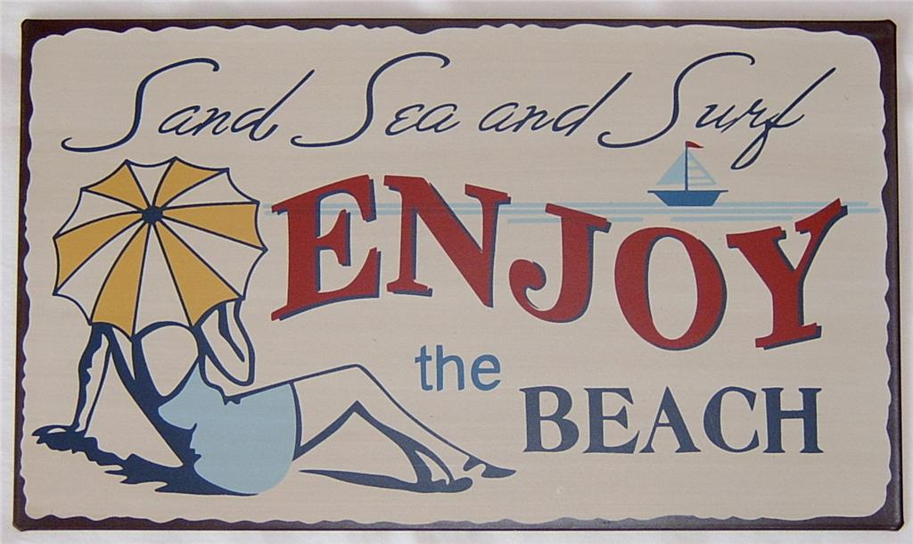 Enjoy-The-Beach-Tin-Metal-SIGN-Vintage-Retro-Style-NEW