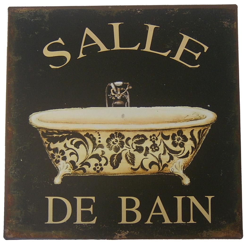 TIN METAL SIGN French Provincial Bathroom Toilet Plaque EBay
