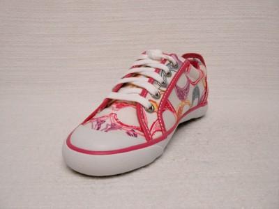 nib coach barrett pink multi color poppy tennis shoes