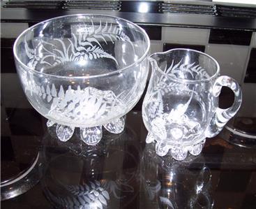 Clear Glass Crystal Milk Jug Small And Sugar Bowl