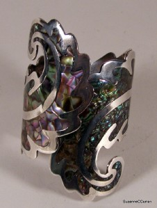 Mexico Taxco Sterling LOS BALLESTEROS Inlaid Abalone Cuff Bracelet