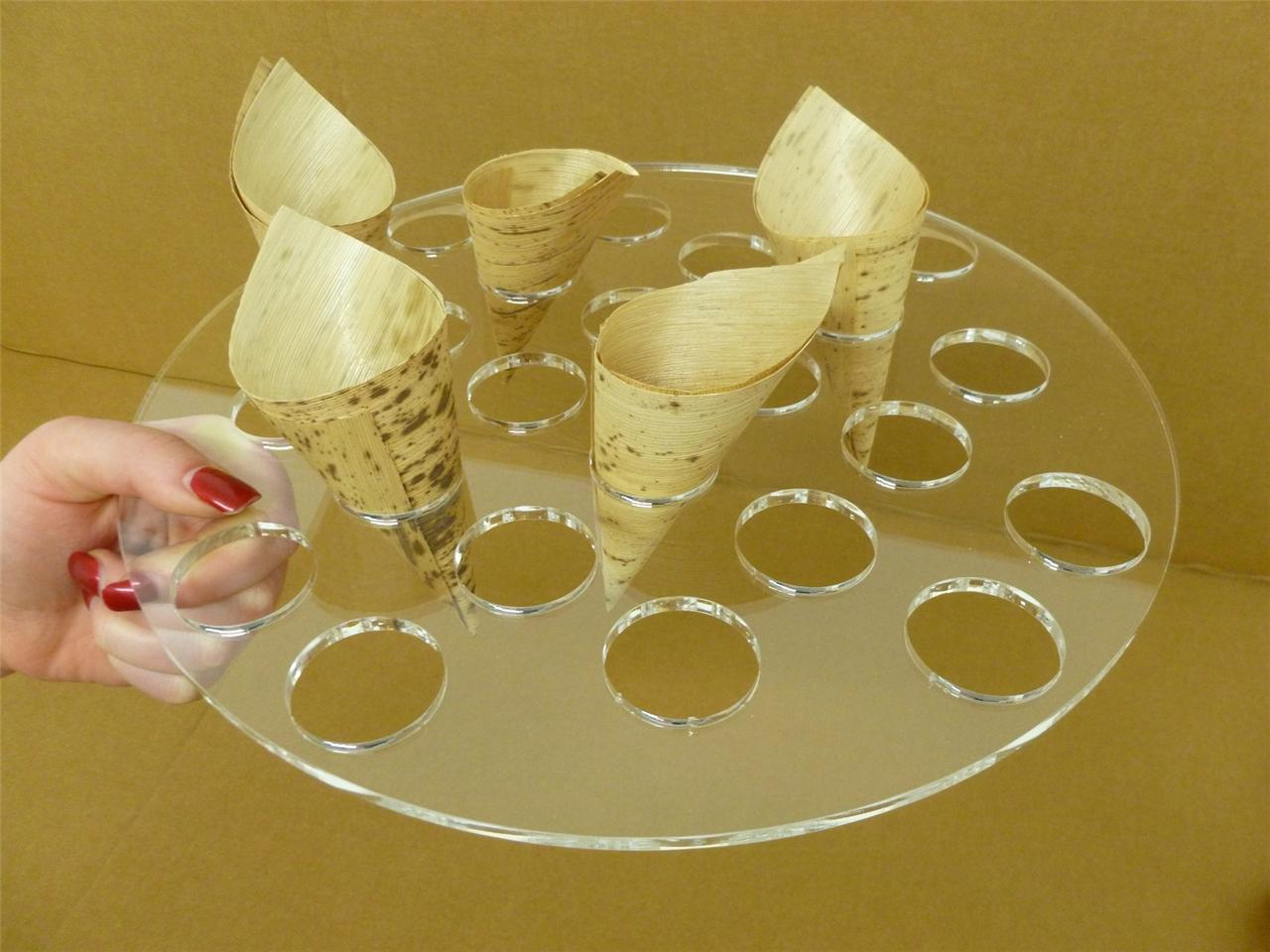 Classikool acrylic handheld food tray canape buffet cone for Canape holders