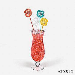 12-Plastic-Hibiscus-Cocktail-Stir-Sticks-Swizzle-Vintage-Retro-Style