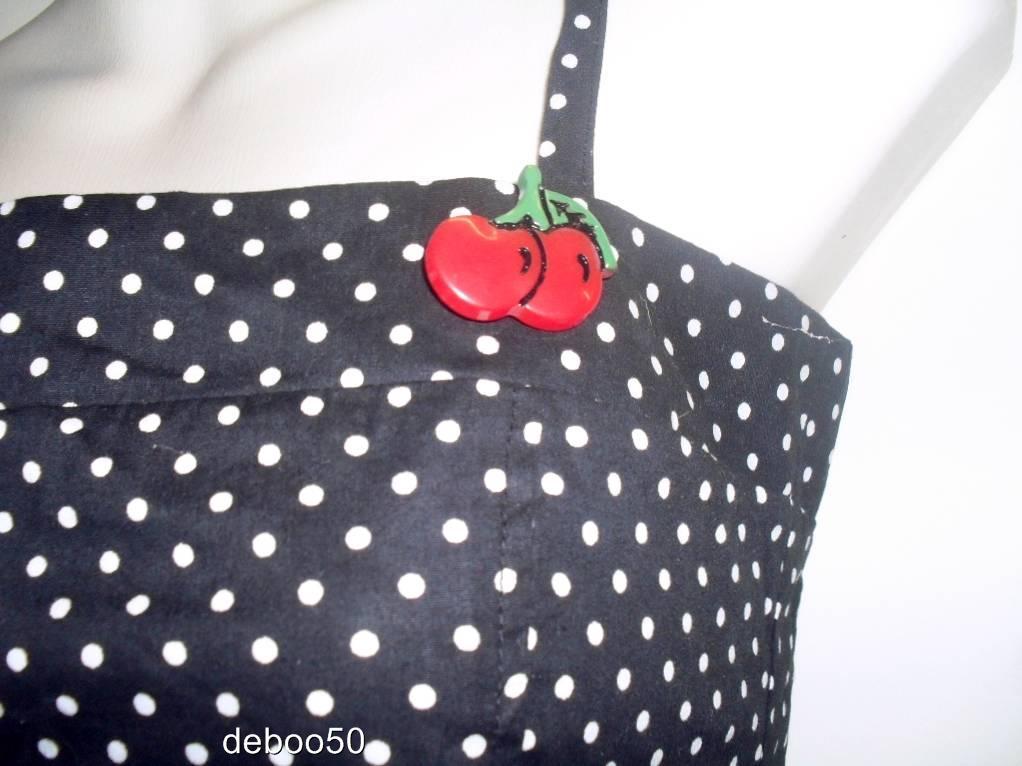 Ladies-or-Junior-Girls-Cherry-Polka-Dot-Top-Pin-Up-Girl-Rockabilly-Blouse