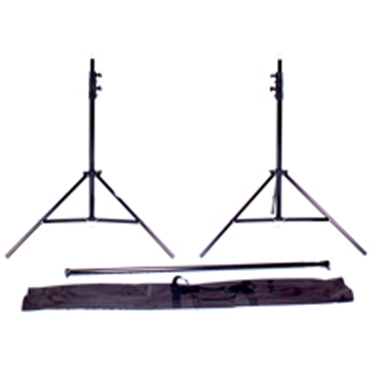 This package includes two 10' support stands, one telescopic crossbar that extends from 4.7' to 12', and a canvas carrying case