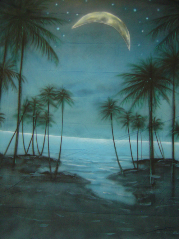 10'x 20' Tropical Night Scenic Muslin Backdrop