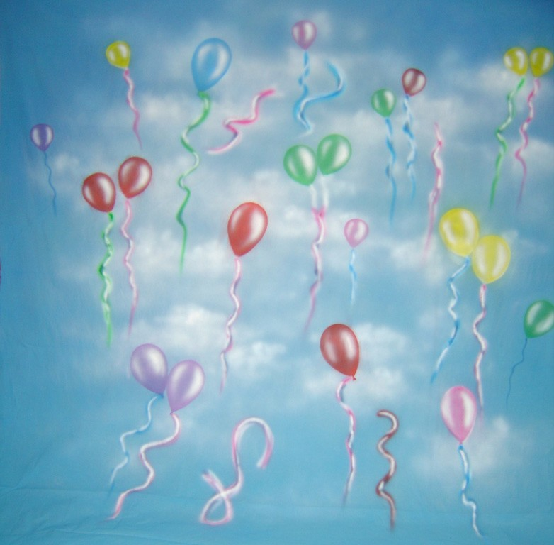 10'x20' Party Balloons Hand-Painted Muslin Backdrop