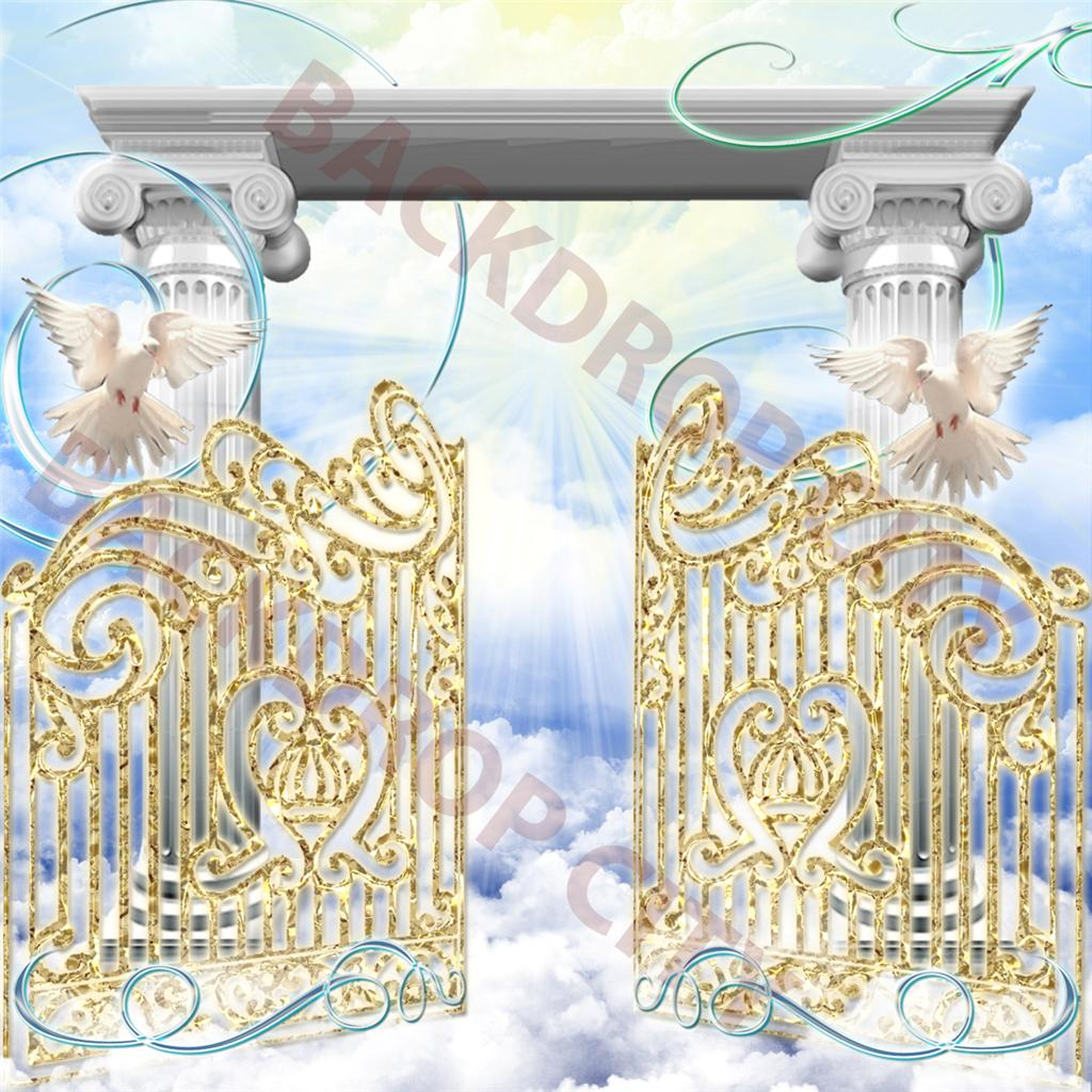 10' x 10' Heavenly Pearly Gates Christian computer-printed Backdrop