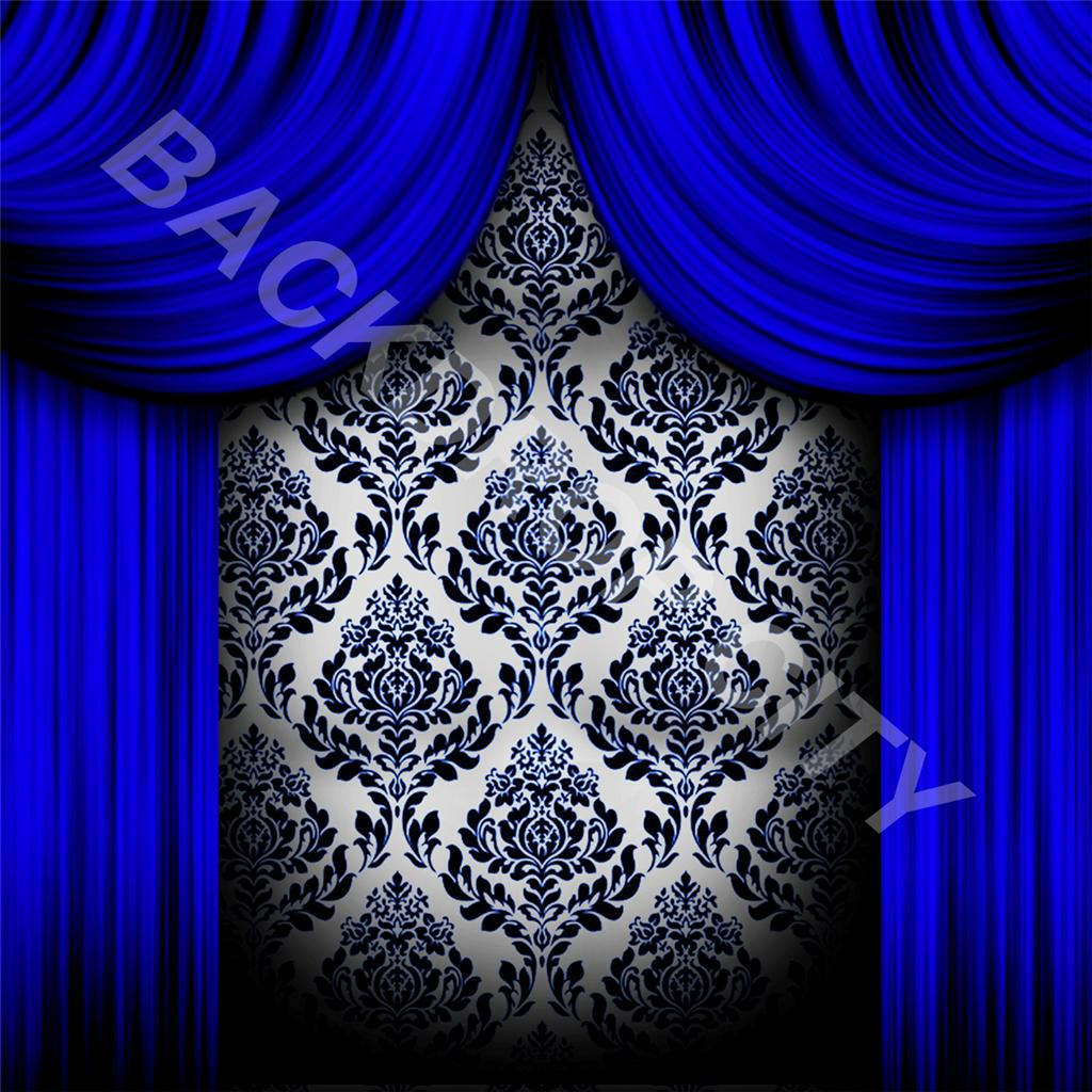10'x10' Blue Drapes Computer-Printed Backdrop