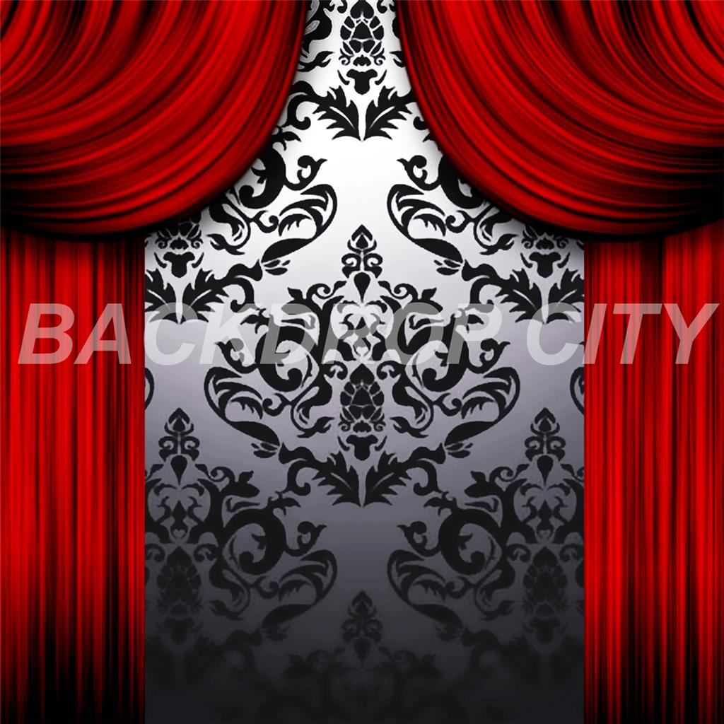 10'x10' Red Drapes Computer-Printed Backdrop