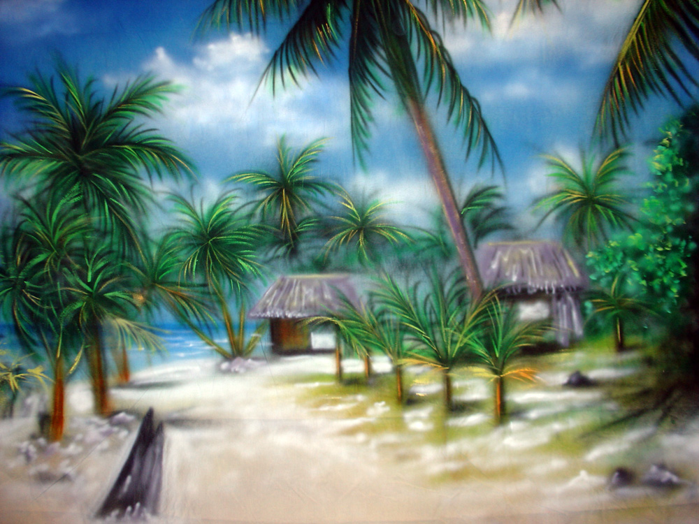 10'x20' Tropical Island Beach Scenic Muslin Backdrop
