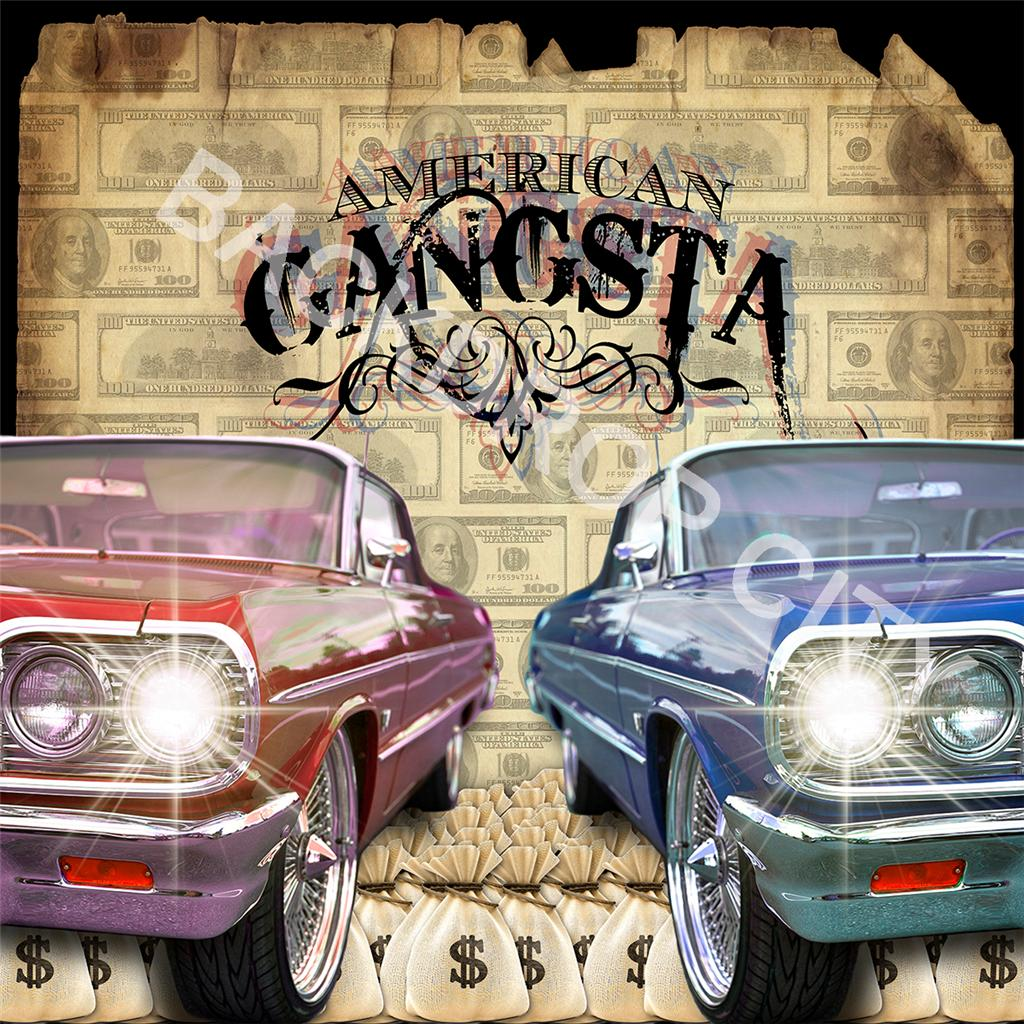 American Gangsta Cars Computer Printed Backdrop