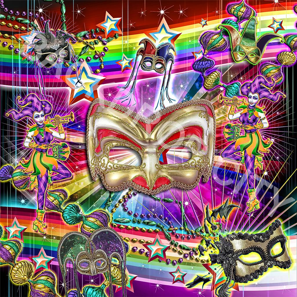 10'x10' Mardi Gras Masks Computer Printed Backdrops