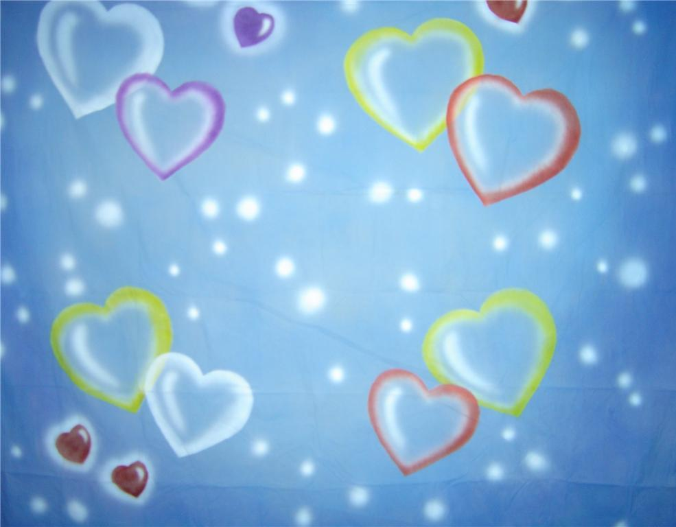 10'x20' Blue w/ Hearts Computer-Printed Backdrop