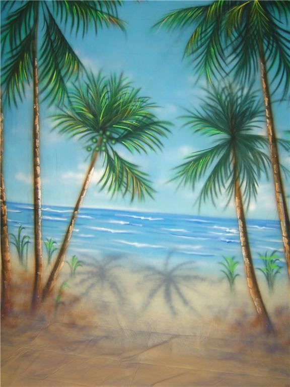 10'x20' Coconut Beach Scenic Muslin Backdrop
