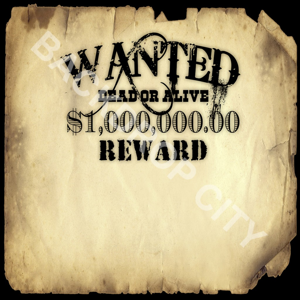 WANTED POSTER Computer-Printed Backdrop